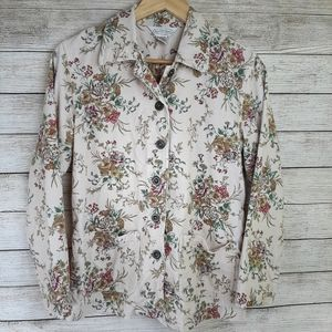 Northern Reflections Beige Corduroy Floral top